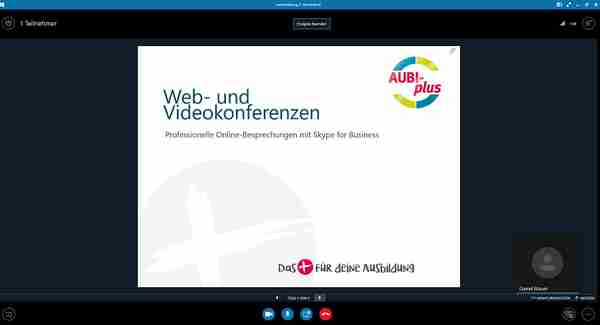 Interne Schulung über Skype for Buisness